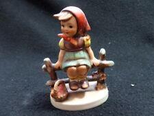 """Goebel Hummel Figurine """"Just Resting"""" 112 3/0 Girl on Fence West Germany"""