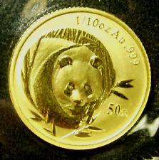 2003 China Gold Panda 50Yn 1/10th Oz BU  -  Mint Sealed Packaging w/ COA