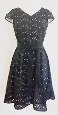TALBOTS Black Cotton DAISY EYELET Cap Sleeve DRESS ~ *P