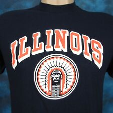 vintage 80s UNIVERSITY OF ILLINOIS FIGHTING ILLINI LOGO 7 T-Shirt S indian thin