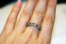 Judith Ripka Sterling Silver and Yellow Citrine Gemstone Seven Stone Ring Size 7