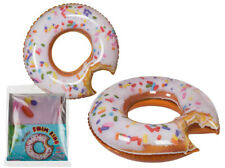 QUALITY LARGE ICED DONUT SHAPED INFLATABLE BLOW UP SWIM RING POOL FLOAT LILO