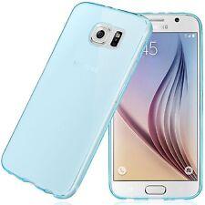 Coque Etui Housse Silicone Gel Bleu Transparent Samsung Galaxy S6 Au Choix