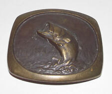 Large Mouth Bass Belt Buckle 3in Vintage Solid Bronze Steven L Knight 1978