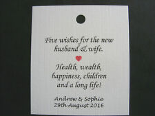 Personalised Wedding Favour Tags x 24 White/Ivory For Sugared Almonds