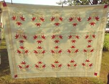 "Vintage Quilt 84"" x 68"" Red Orange Beige"