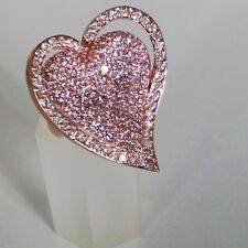 Handmade White Cubic Zirconia Brass Metal Heart Statement Ring Size 7.5