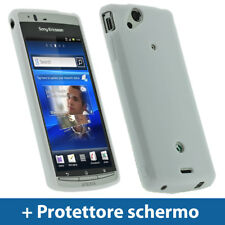 Bianco Custodia TPU Gel per Sony Ericsson Xperia Arc S Android Case Cover Rigida