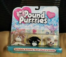 "RARE VTG 1995 Mini 3"" Pound Purries 3 Plush Cat Stuffed Animals (Pound Puppies)"