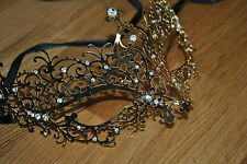 New Delicate Venetian Gold  Metal Mask Filigree Masquerade  Diamante Ball. Prom
