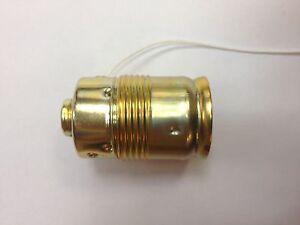 E27 Metall-Fassung mit Zugschalter ! Lampenfassung VOLL MESSING !!!Leuchte M10X1