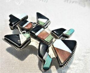 Vtg Zuni Sterling Silver Multi Stone Inlay Kachina Rainbow Man Bolo Tie Slide