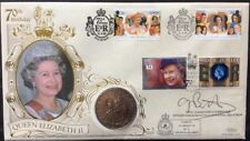 Benham 1996 Queen's 70th Birthday FDC Signed AJ BARRETT 1977 UK Crown coin flown