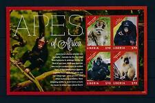 [38485] Liberia 2012 Wild Animals Mammals Monkeys Apes Mnh Sheet