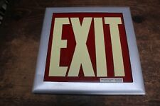 Vintage Exit Sign Glass Red Glass White In Metal Frame