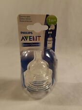 Avent Natural Feeding Bottles 2 Slow Flow Anti Colic Silicone Nipples 1m+