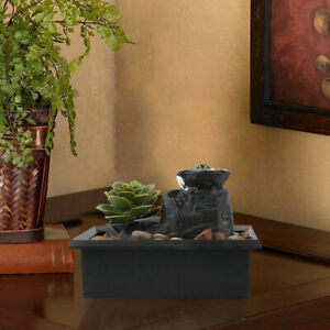 Cobblestone Ornament Indoor Tabletop Water Fountain With LED Light Home Decor