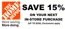 1 X 15% OFF Home Depot Coupon-IN  STORE ONLY - Save up to $200 Sent Quickly!!!!