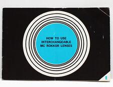 Minolta Interchangeable MC Rokkor Lenses Guide Instructions English