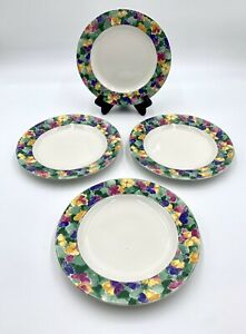 Vitromaster 1994 PANSIES Designed By Sue Zipkin SALAD Plates Set of 4