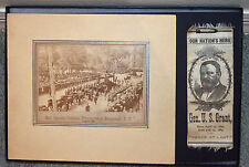 "General Grant Funeral Procession N.Y. 1885 w/ Photo & Rare Ribbon ""Peace at Last"