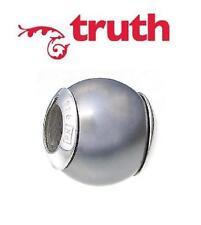 TRUTH PK 925 sterling silver & grey faux pearl charm bracelet bead