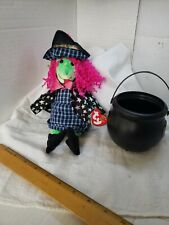 COLLECTIBLE  HALLOWEEN  DECORATION TY BEANIE BABIES SCARY WITCH 2000. BLACK POT