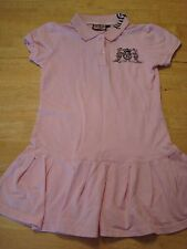 JUICY COUTURE GIRLS PINK CITYPI OF LOVE JEANS POLO SHIRT DRESS RHINESTONES 15