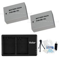 2X NB-10L Replacement Battery & USB Dual Charger f/Canon Powershot G1x SX50 SX40