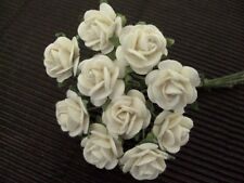 50x12mm Mulberry Paper WHITE ROSES CL152 Miniatures WeddingStationery Cake Dolls