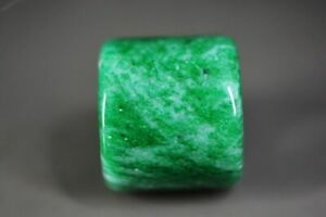 Delicate Chinese Natural Green Jade Wide Ring Thumb Ring D16