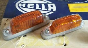 HELLA FLASHER INDICATOR LAMPS LIGHTS AMBER PAIR CLASSIC 12V GENUINE NOS WING