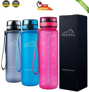 1-Litre Motivational Smart Water Bottle with Time Markings Hydration Tracker