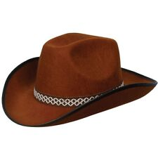 Cowboy Deluxe Fancy Dress Hat Brown Durable Hat with Band New W