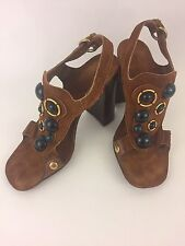 Miu Miu Woman's Brown Suede Leather Jeweled Ankle Strap Sandals Size 37 /7M