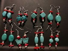 Wholesale lot Of 8 Pairs Of 925 Silver 💎 Turquoise Coral Earrings