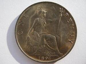 1896 Queen Victoria Penny, B UNC.