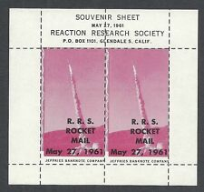 United States 1961 private ROCKET Mail Sheet RRS  MNH  VF