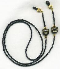 CAT LOVERS Black & Gold Eyeglass~Glasses Holder Necklace Chain *CUSTOM LENGTH*