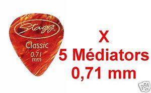 5 Médiators Taille 0,71 mm Ecaille de Tortue STANDART