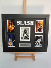 UNIQUE PROFESSIONALLY FRAMED, SIGNED SLASH PHOTO COLLAGE WITH PLAQUE.