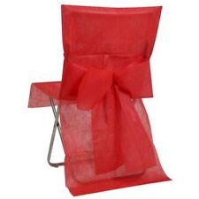 Housses de Chaise Mariage Rouge avec Noeud x 8