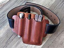EDC Leather belt pouch Multitool Leather sheath Pocket organizer pen flashlight