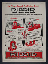 1954 Ridgid Pipe Tools Wrench Threader Cutter hardware trade vintage print Ad