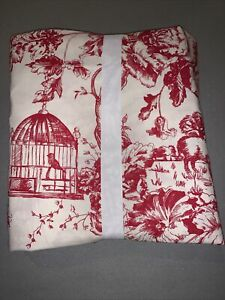 Pottery Barn NWT Graton Red Toile Twin Sheet Set, Birds birdcage sheep French