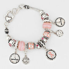 Breast Cancer Awareness Pink Ribbon Charm Bracelet Beaded Survivor SILVER