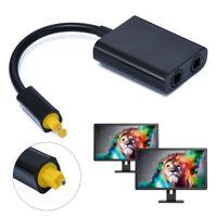 Digital Toslink Optical Fiber Audio 1-2 Female Splitter Duplicator Adapter Cable