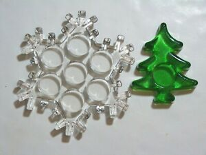Two beautiful Christmas vintage  glass decor candle holders: snow flake and tree