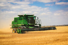 Photography Print of Combine Cutting Wheat at Harvest in Colorado