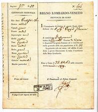 CC90-COMO-PASSAPORTO PER LIBERA CIRCOLAZIONE 1839